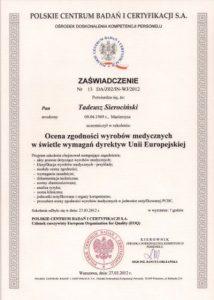 WZSO Certyfikaty i kompetencje w dziedzinie protetyki 11