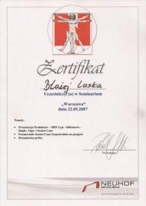 WZSO Certyfikaty i kompetencje w dziedzinie protetyki 13